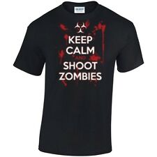 KEEP CALM AND SHOOT ZOMBIES T Shirt  Choice of T Shirt Colours / S - 5XL