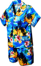 Boys Hawaiian Shirt Set Waikiki Sunset 220-3104 NEW 100% Cotton Made in Hawaii.