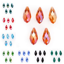 10pcs Teardrop Faceted Pendant Glass Crystal Beads Findings 10x20mm 40 Colors
