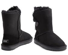 OZWEAR Connection Unisex Button Ugg Boot - Black