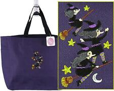 Halloween Witches Tote Bag 16 Colors Flying Witch Brooms Monogram Stars & Moon