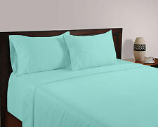 BRITISH 1200TC HOTEL SOLID BEDDING COLLECTION LIGHT BLUE 100% COTTON IN ALL SIZE