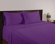 BRITISH 1200TC HOTEL SOLID BEDDING COLLECTION PURPLE 100% COTTON IN ALL SIZE