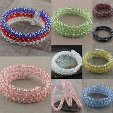 1 Strand Faceted AB Crystal Glass Beads Winding Spiral Bracelet Bangle Wristband