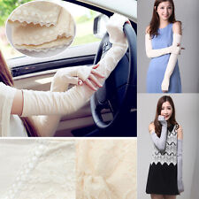 New Lady Sunscreen Anti UV Extra Long Lace Arm Warmers Fingerless Gloves Sleeve