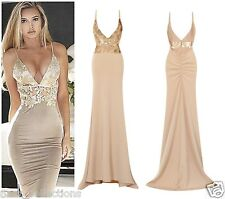 CELEB SEXY NUDE GOLD SEQUIN BACKLESS SLINKY MAXI FISHTAIL PARTY PROM DRESS 6-16