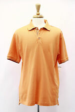 NWT $128 Robert Graham Mens 100% Pure Pima Cotton Orange Embellished Polo Shirt