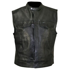 Xelement Black Motorcycle Leather Vest S-5X XS1937