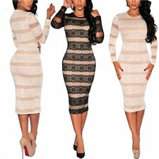 Women Lady Bodycon Lace Long Sleeve Slim Evening Sexy Party Cocktail Mini Dress