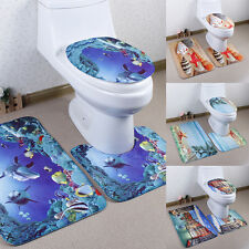 Bathroom Non-Slip Pedestal Rug + Lid Toilet Cover + Bath Mat 4Patterns 3x 1Set