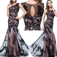 3CLR Lace Applique Long Mermaid Gown Formal Bridesmaids Prom Party Evening Dress