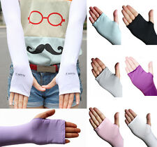 UV Sun Protection Arm Sport Cooling Sleeves Gloves Cover Driving Women ICMA