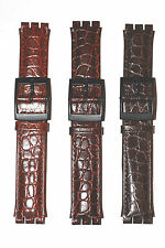 WATCH BAND FOR SWATCH IN LEATHER 3 SHADES OF BROWN TO FIT CLASSIC SWATCH  17 MM