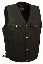 Men's Black Classic Snap Front Denim Vest with V-Neck Collar & Gun Pocket
