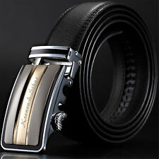 KS Luxury Genuine Leather Black Automatic Steel Buckle Waist Strap Men's Belts