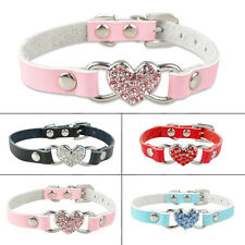 Soft Leather Dog Puppy Cat Collar with Rhinestone Heart Cute for Chihuahua Teddy