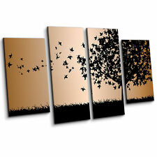 Falling Leaves blowing from Tree Silhouette Black 4 Piece Wall Art Canvas Print