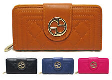 New Ladies Faux Leather Quilted Zip Long Coin Purse Womens Wallet Card Holder