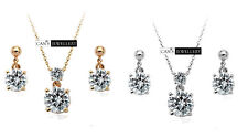 18K Gold Plated SWAROVSKI ELEMENTS Classic 4 Prongs Necklace & Earrings Set S805