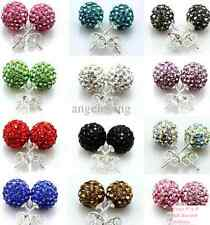 925 Sterling Silver Shamballa Crystal Ball Stud Earring UK Seller!!!