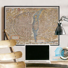 Paris Map Retro Canvas Print Framed Wall Art Home Decor Painting