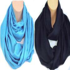 Brand New Colours! Circle Loop Infinity Scarf Snood Navy Blue & Turquoise