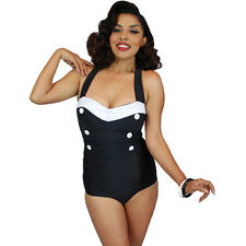 Pinky Pinups Halter One Piece Swimsuit Black/White Vintage Rockabilly Pin Up