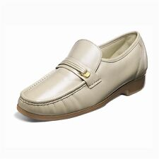 Florsheim Riva Mens Beige Genuine Leather Buckle Slip-On Comfortable Trendy Shoe