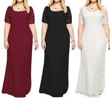 Fat Women Lady Lace Long Maxi Full Skirt Evening Cocktail Party Dress Plus Size