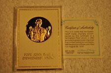 1 Oz. Silver Round With 24kt Gold Pope John Paul 1