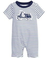 First Impressions 3 6 Months Scooter Sunsuit Romper Baby Boy Clothes Navy Cotton