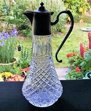 VINTAGE CLARET JUG DECANTER WITH SILVER PLATED LID AND HANDLE