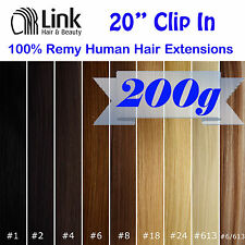 "20"" Premium Clip In Remy Human Hair Extension (Extra Thick)  Black Brown Blonde"