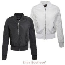 Ladies Womens Classic MA1 Bomber Jacket Diamond Quiilted Sleeve Zip Up Biker