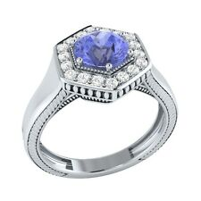 0.75 ct Natural Tanzanite & Certified Diamond Solid Gold wedding Engagement Ring