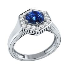 0.75 ct Natural Sapphire & Certified Diamond Solid Gold wedding Engagement Ring