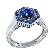 0.75 ct Natural Round Blue Sapphire Solid Gold wedding Engagement Ring