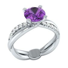 1.20 ct Natural Amethyst & Certified Diamond Solid Gold wedding Engagement Ring