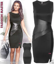 Womens new ladies Celebs inspired  PU LEATHER PATCH Bodycon side cut Midi Dress