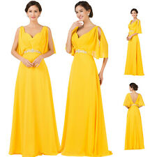 Pregnant Yellow Maternity Bridesmaids Formal Evening Party Ball Long Prom Dress