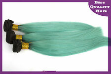 1PC Teal Ombre Vrigin Brazilian Human Hair Extensions 2-Tones Straight Hair Weft