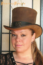 Steampunk Hat Victorian Classy Asian Dragon Leather HIGH Top Hat 2 Tones