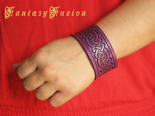 Medieval Celtic Knots Leather Cuff Bracelet Bright Color