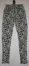 NEW Womens Black & White Leopard / Cheetah Print Leggings - One Size fits S M L