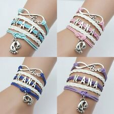 Footprint Style Bangle Infinity Friendship Leather Wrap Wristband Cuff Bracelet