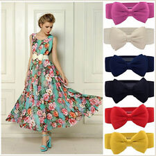 1PC Lovely Women Bowknot Elastic Bow Wide Stretch Buckle Waistband Waist Belt