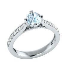 0.80ct Natural Aquamarine & Certified Diamond Solid Gold Wedding Engagement Ring