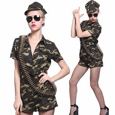 Army Girl Ladies Outfit  Soldier Fancy Camo Costume Combat Military Commando Set