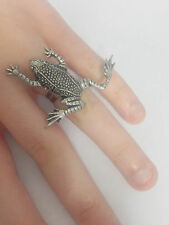 C11 Leaping Frog English Pewter Ladies Ring, Adjustable Handmade in Sheffield