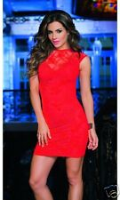 Sexy Red Floral Lace Cap Sleeve Dress Clubwear Espiral 4404